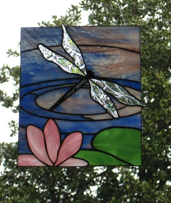 Dragonfly Stained Glass Panel by Handcraftcottage on Etsy