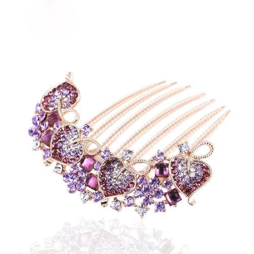 Valentines Day Gift Wedding Hair Accessories Rhinestone Petal Tuck Purple Crystal Hair Pin and Comb Hair Clip for Women
