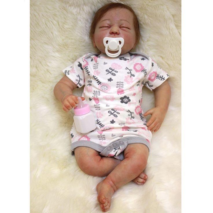 161.24$  Watch now - http://aliyfz.worldwells.pw/go.php?t=32684330508 - Lovely Vinyl Material Reborn Dolls Newborn Sleeping Dolls for Girls Birthday Gift,20 Inch Lifelike Baby Reborn Doll with Clothes