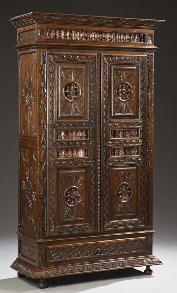 breton carved oak armoire, 19th century, 1800s | ebay