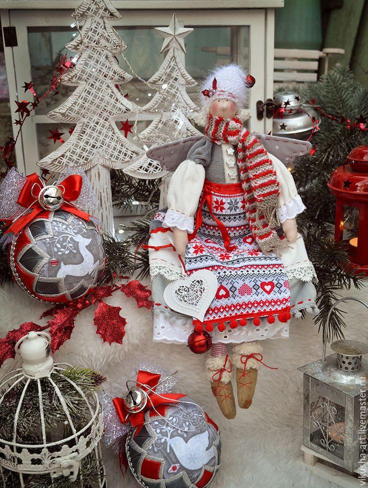Купить Скандинавское Рождество..... - ярко-красный, серый, серебряный, скандинавский стиль, скандинавский орнамент, скандинавия