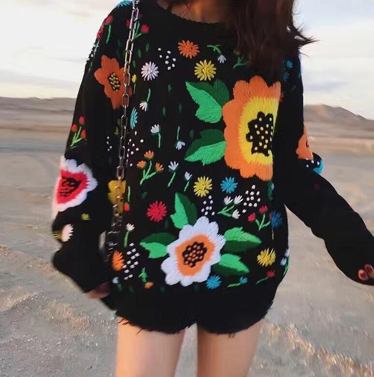 Find More Pullovers Information about JOYINPARTY 2017 Autumn and winter the new European and American retro tide licensing loose weaving flowers embroidery sweater,High Quality embroidery sweater,China european and american Suppliers, Cheap autumn and winter from Sally's Fashion Store on Aliexpress.com