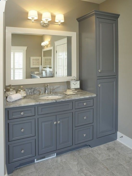 Fabulous Florida Tile Formations For Walls And Floors : Impressive Florida Tile Formations Using Gray Tile Floor And Gray Wall Combined With Gray Vanity Unit With Marble Upper Side And White Sink Completed With Wall Lamps Over The Large Window