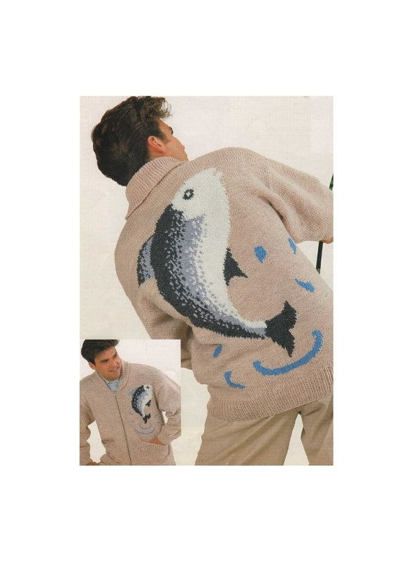 Mens Zip Cardigan Fishing Fish Motif PDF Knitting Pattern : Zipped Jacket . 36, 38, 40, 42, 44, 46 and 48 inch chest . Digital Download