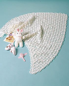 Crochet Shawl for Baby | FaveCrafts.com ~ I don't think I would make a shawl for a baby but I like this stitch pattern