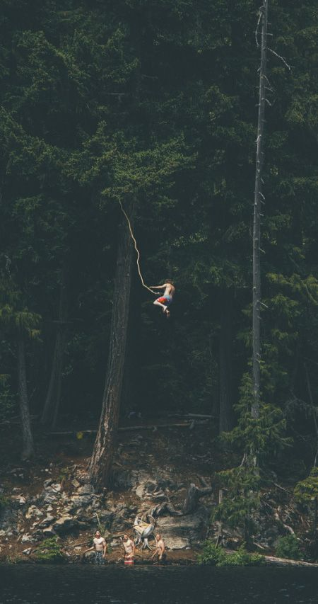 rope swing into a lake//