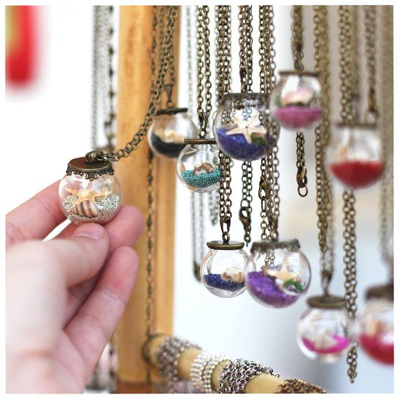 Natural beach in a glass Sea pendant Mini vial globe bottle Tiny round ball Real miniature shell pearl starfish Customizable necklace on Etsy, $18.00