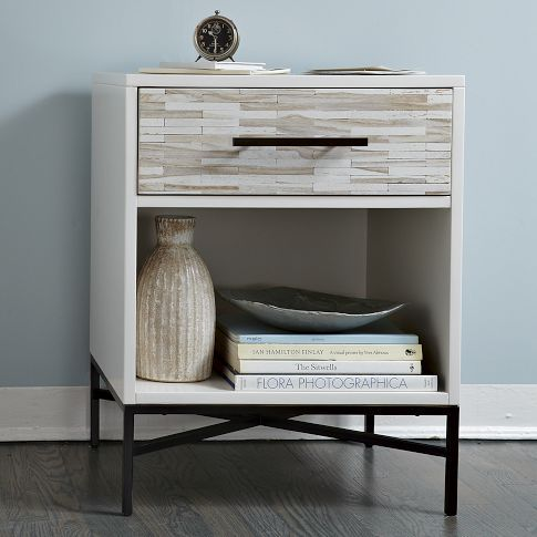 Wood-tile nightstand. West Elm. I love that it would match any accent colour if I change what I have AND it's got practical storage.