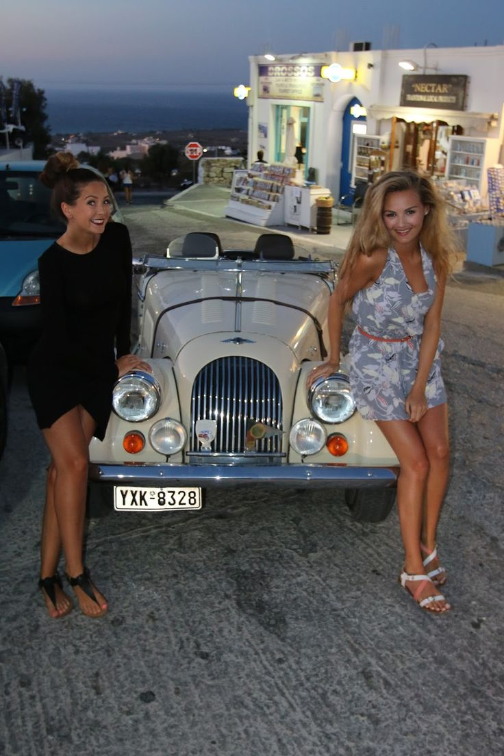Night Out In Santorini with Niomi. We found a vintage car! www.zoella.co.uk