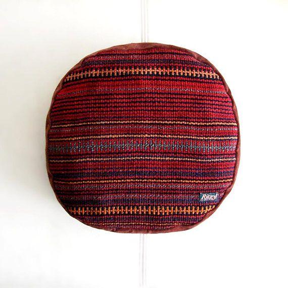 Kilim Round Cushion, Kelim pillow, Mini  pouf, Meditation Pillow, Bohemian living, Turkish cushion, Tribal Handmade, Home Decor,  (32x32 cm)