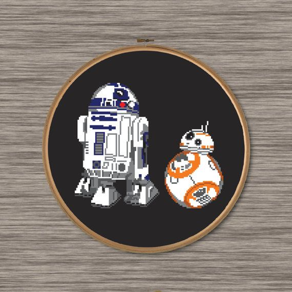 Instant download PDF cross stitch pattern of R2D2 and BB8 droids  Pattern includes colored grid and DMC color chart.  Size: Approximately 7.78 x 6.57 (14 count Aida fabric) 109 cross stitches wide, 92 cross stitches tall 8 colors  Stitch pattern on BLACK Aida fabric.