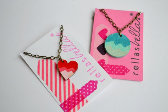 Valentine's Day hand painted ombre chevron heart necklace, red, pink, coral wood pendant. $17.00