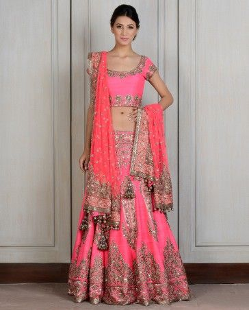 Fuschia Embroidered Raw Silk Lengha.  Manish Malhotra 2014 Wedding clothes, Indian wedding clothing