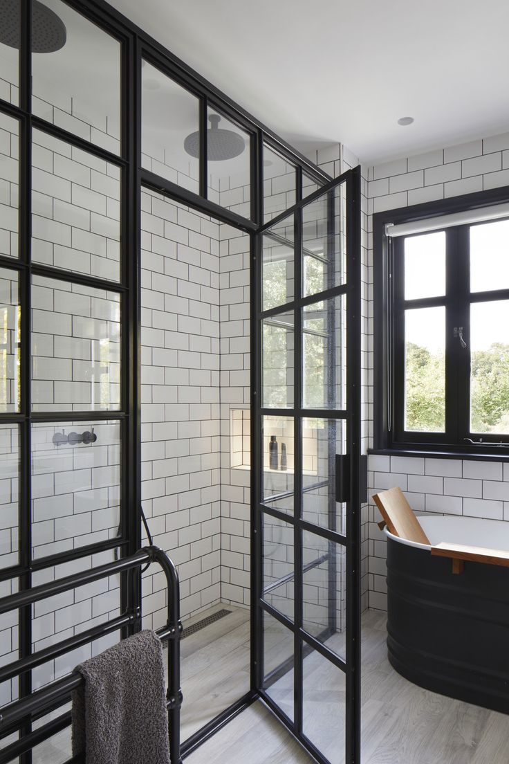 Monchrome Bath With Critical Shower Screen And Door Black
