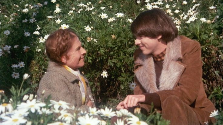 """""""Harold and Maude"""" in the daisys. Simple shot in the iconic costumes (Harold coat is a must)"""