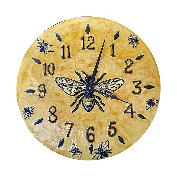 Honeybee Wall Clock In Light Yellow Glaze By Beth Sherman Ceramic Kitchen ClocksKitchen ArtworkKitchen DecorBee