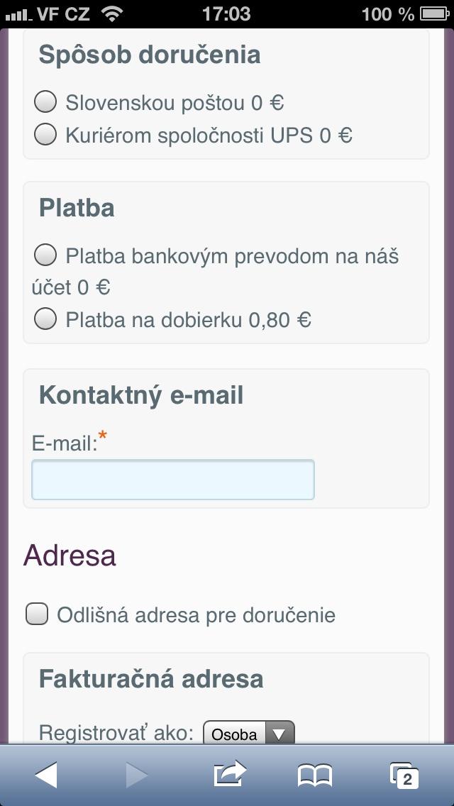 Objednávkový formulár. Ľahké zakliknutie Spôsobu doručenia, Platby, vyplnenie emailu, či adresy. Na mobile/tablete bez mobilnej verzie skoro nemožné. Tvorba web stránok cez mobilné zariadenia - http://www.biznisweb.sk/#create-form
