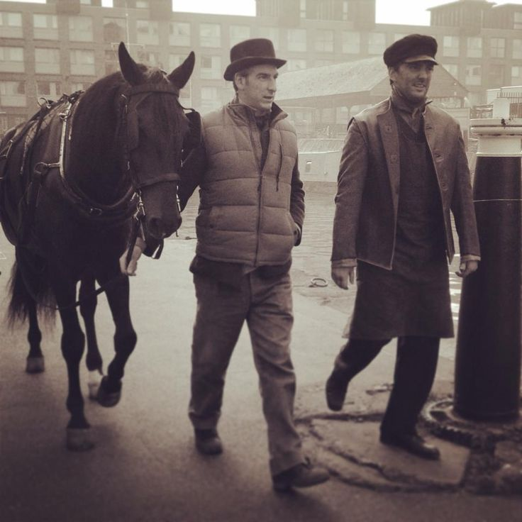 Shire horse and actors, Gloucester Docks