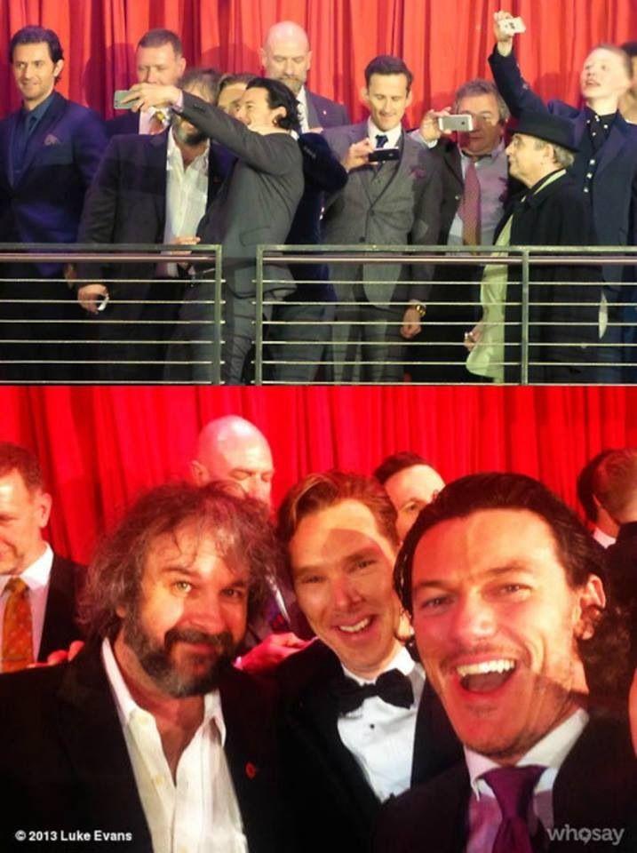 The Hobbit: Peter Jackson, Benedict Cumberbatch and Luke Evans selfie. Never not repin this.