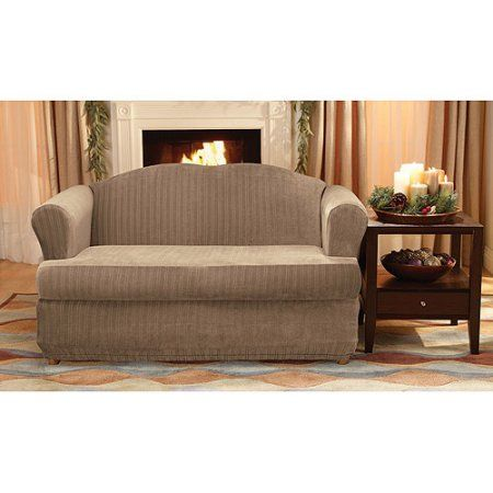 Sure Fit Stretch Pinstripe 2 Piece T-Cushion Loveseat Slipcover