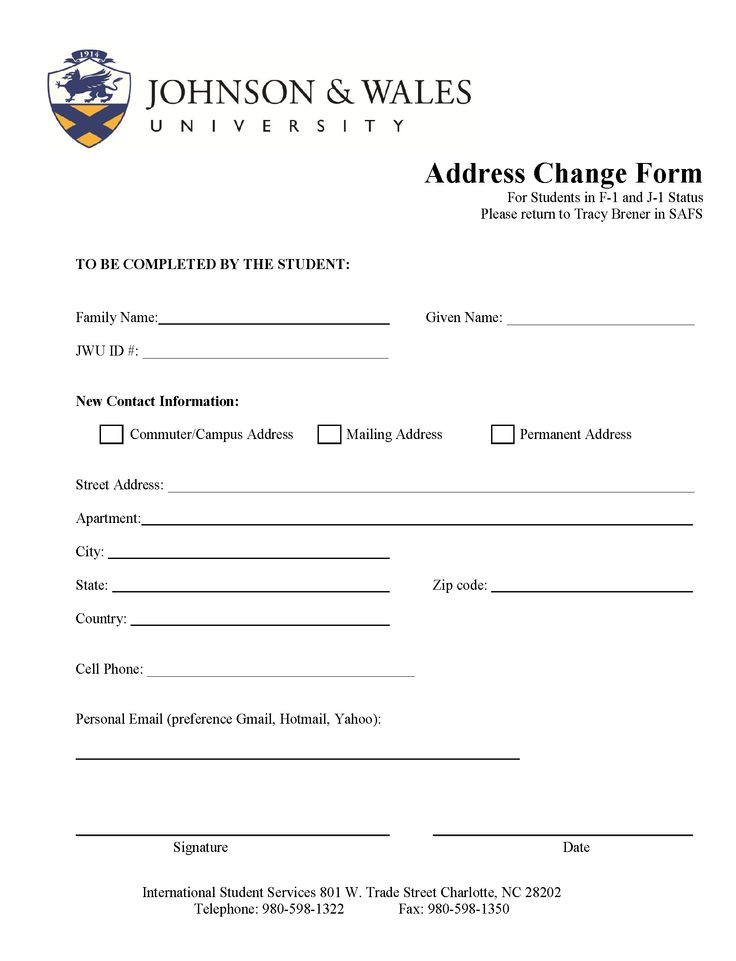 Change Of Address Form - You Must Let Your International Student