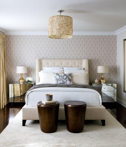 Best Glam Bedroom Featuring Patterened Wallpaper Dark Hardwood 400 x 300