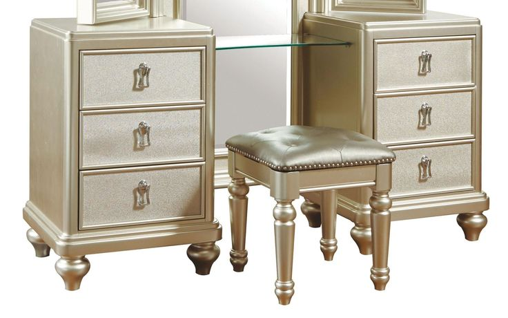 Diva Metallic Vanity Dresser with stool