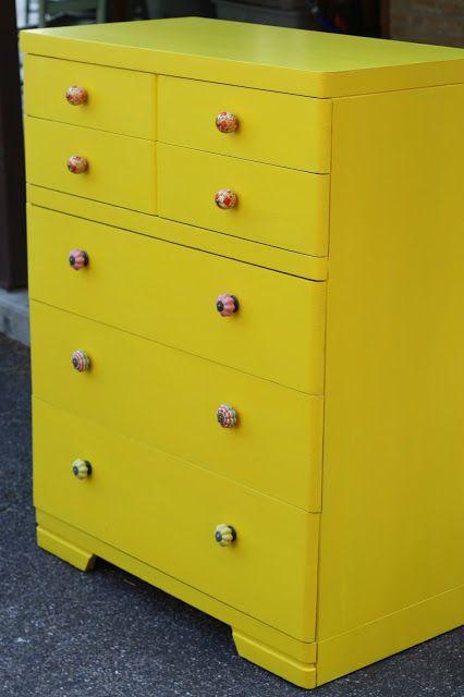Primitive & Proper: Emmy's New Sunshine Yellow Dresser