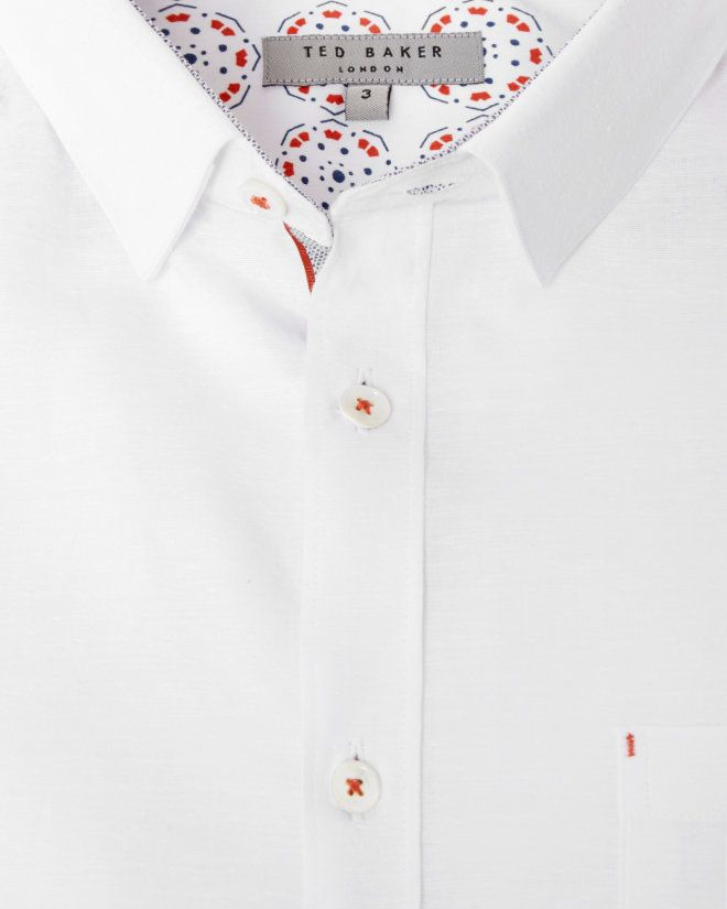 Short sleeved textured linen shirt - White | Shirts | Ted Baker