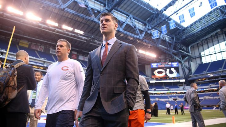 Bears vs. Colts:  29-23, Colts  October 9, 2017  -     Bears General Manager Ryan Pace on the field before Sunday's game at Lucas Oil Stadium.