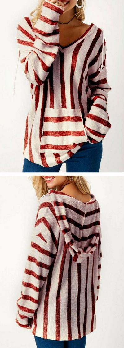 Pocket Long Sleeve Hooded Collar Striped Sweater, cute sweater,fall sweater,red sweater, casual sweater, sweater, sweaters,free shipping worldwide at Rosewe.com.