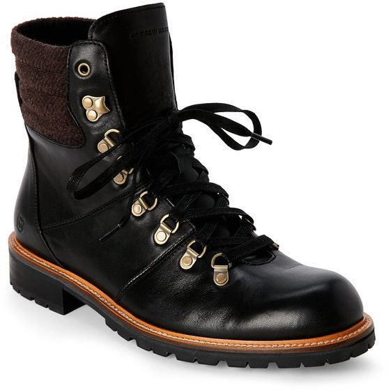 Andrew Marc Black & Asphalt Chester Lace-Up Boots
