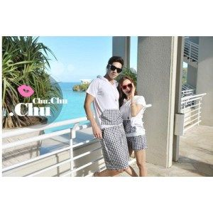 Couple set white  plaid boxie Size:   Co (L) Tops: LD 52, P 73; Pants: W 27-37, P 51   Ce (M) Tops: LD 45, P 68; Pants: W 23-33, P 41 Material: Combed (Tops) & Cotton (Pants) *Hoodie, baju+celana ada kantong, pinggang karet. Harga : 100.000,-
