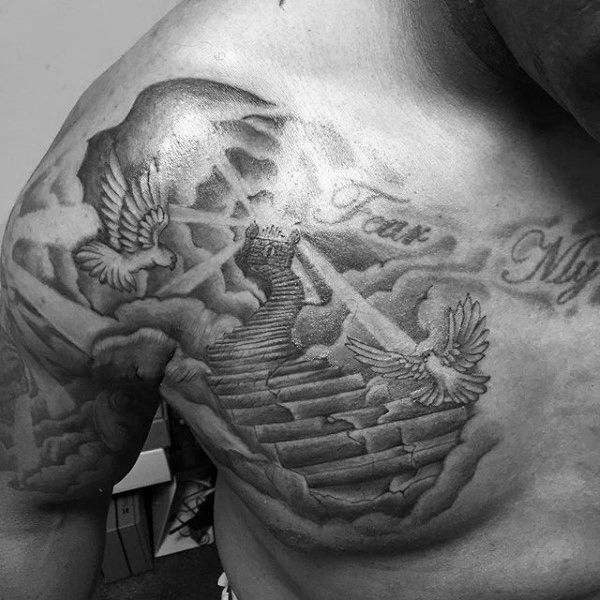 Mens Upper Chest Heaven Stairs Tattoo Design