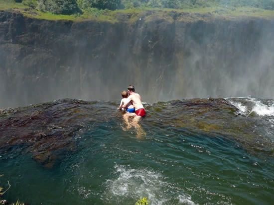 I WILL do this someday - you might not want to go in after me cause there will be pee in the water - so be forewarned.: Swim Hole, Buckets Lists, Devil Pools, Beautiful Waterfalls, Dreams, Swim Pools, The Edge, Victoria Fall, Rocks