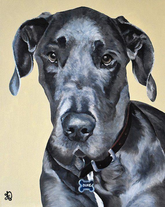 Great Dane Dog Painting Pet Photo Painter Audrey Delaye Realistic