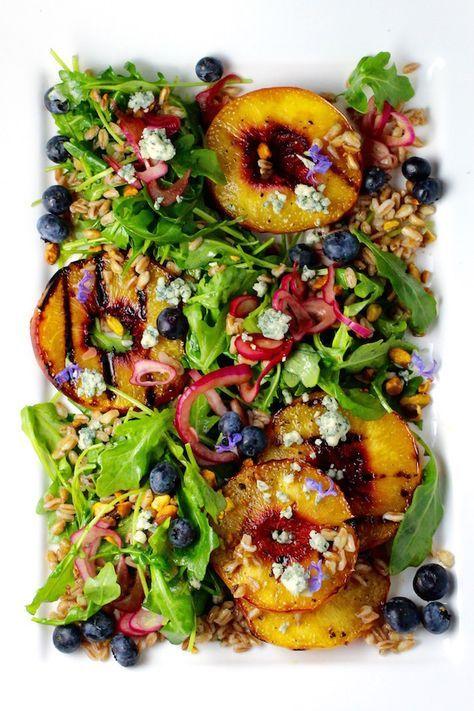 Fabulous Grilled Peach Salad, Arugula, Farro, Blueberries, Red Onion, Bleu Cheese, Pistachio, Maple-Bourbon-Rosemary Dressing #Peaches #SummerSoiree