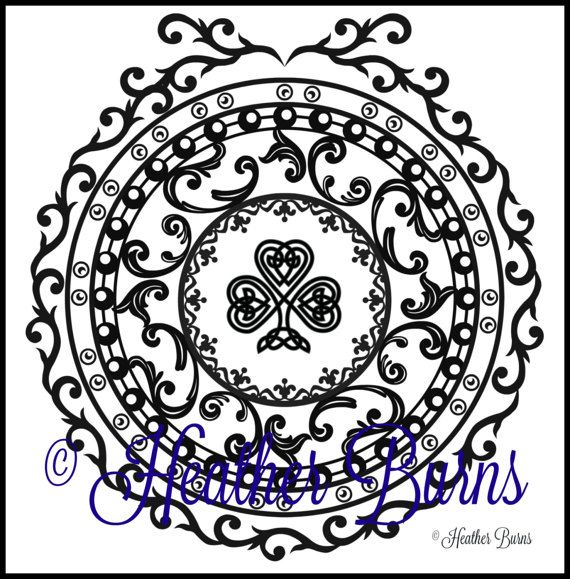 celtic shamrock coloring page for st patricks day from heather burns new etsy shop