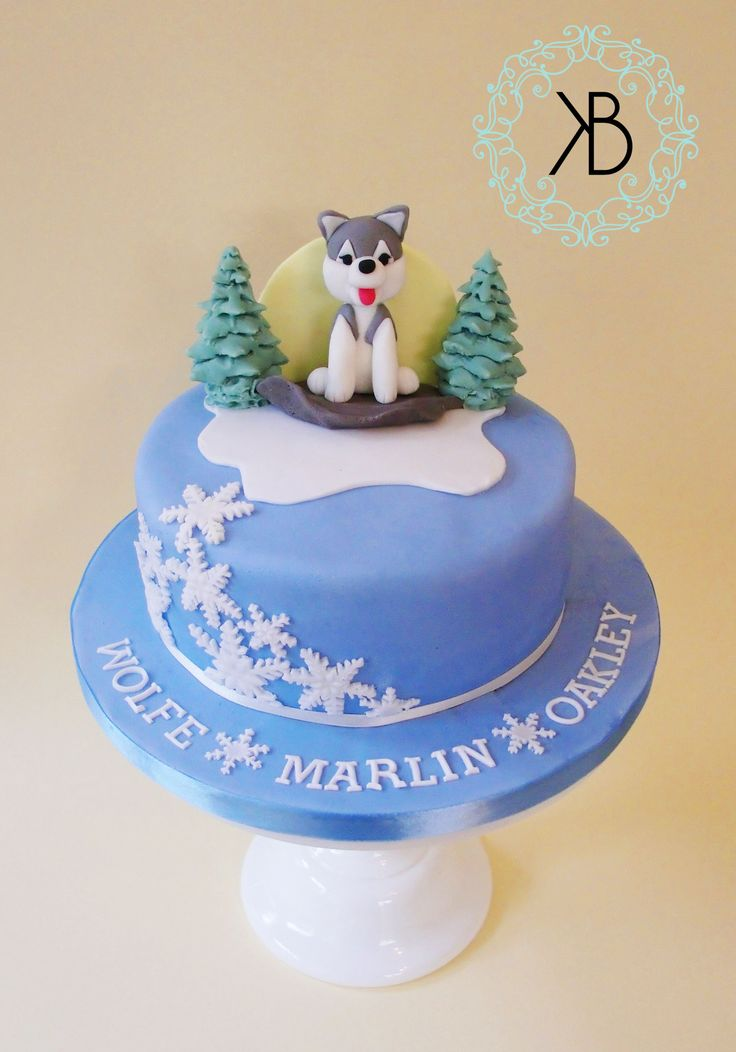 Christening cake for a baby Wolf! All edible gooey chocolate cake
