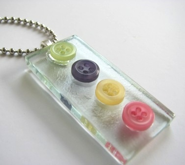 Pastel Garden - Button Glass Art Pendant