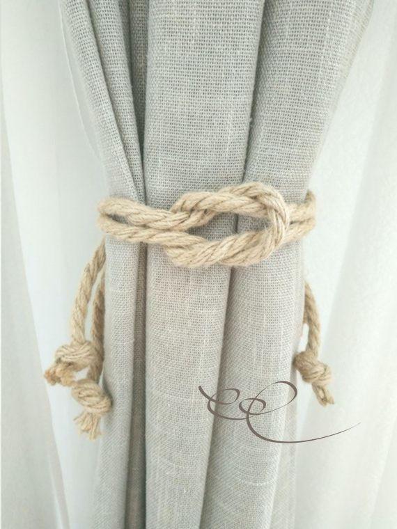 Jute Rope Curtain Tie Backs Nautical Tiebacks Rope Curtain Tie