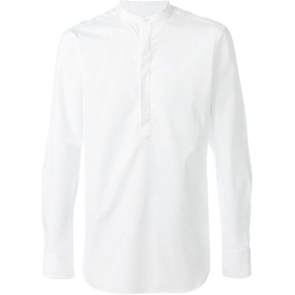 E. Tautz slim fit grandad collar shirt (£170) ❤ liked on Polyvore featuring men's fashion, men's clothing, men's shirts, white, mens collared shirts, mens grandad collar shirt, mens white shirts, mens slim fit white shirt and mens slim fit shirts