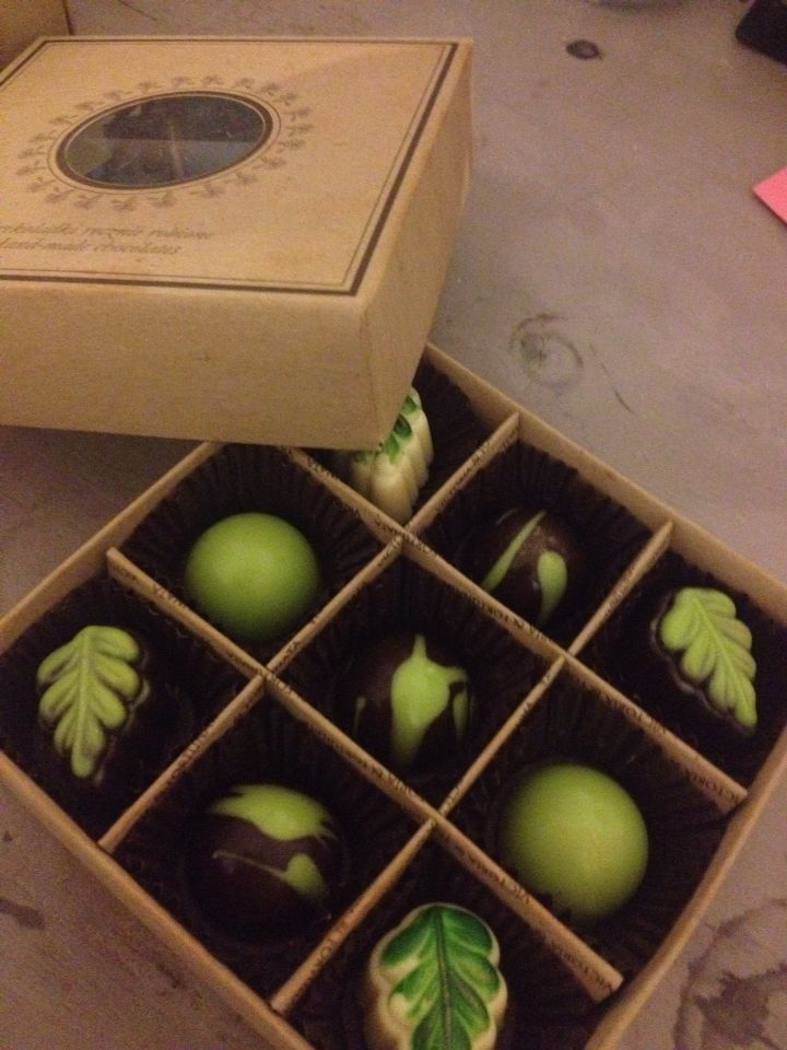 Mazury, Poland A box of chocolate pralines made by myself at the chocolate workshop :)