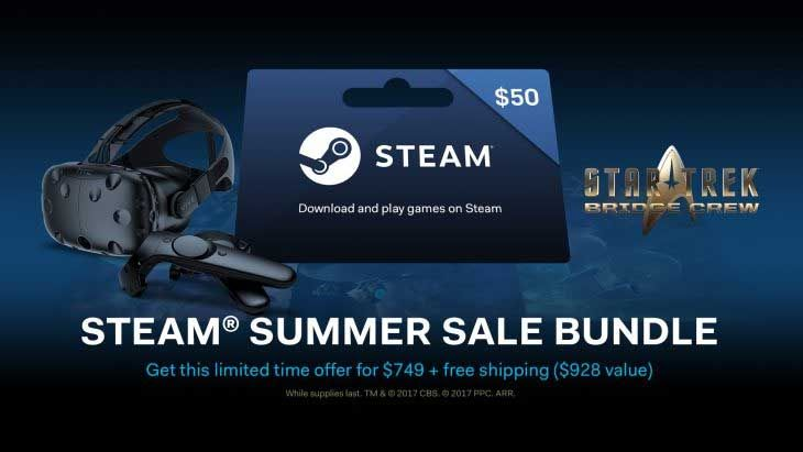 Vive is joining in on the annual Steam® Summer Sale. With every HTC VIVE purchase, discounted to $749.99 for the Summer Sale, all new Vive customers will also receive a $50 Steam gift card that can be redeemed and used immediately for the Summer Sale. The discount and bundled