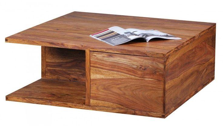 Wohnling Design Sheesham Massivholz Couchtisch 88 x 88 x 40 cm mit Schubladen Je…