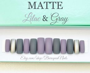 Matte Lilac & Gray Press On Nails Grey Stiletto Nails