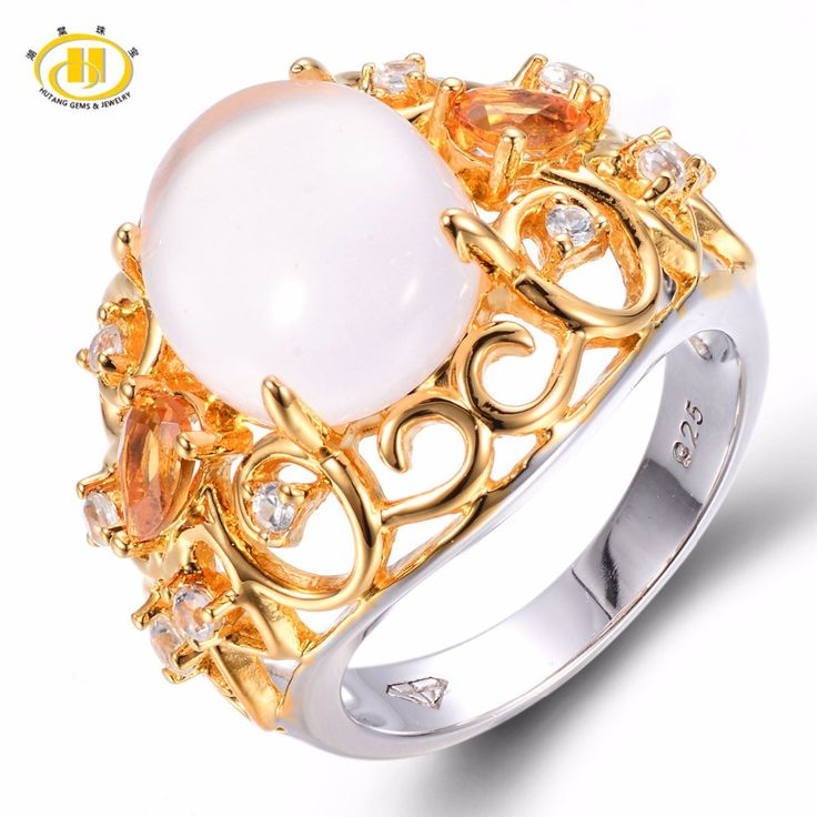 Cute Hutang Solid Sterling Silver ct Natural Gemstone Rose Quartz u Citrine Wedding Ring Fine