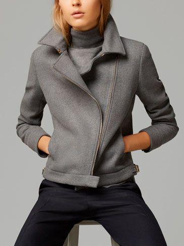 Something so cozy about gray. Chaqueta Cruzada Massimo Dutti AW 2014
