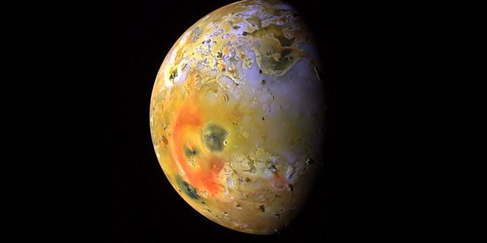 Jupiter's moon, Io. A bit larger than Earth's Moon, Io is the third largest of Jupiter's moons, and the fifth one in distance from the planet
