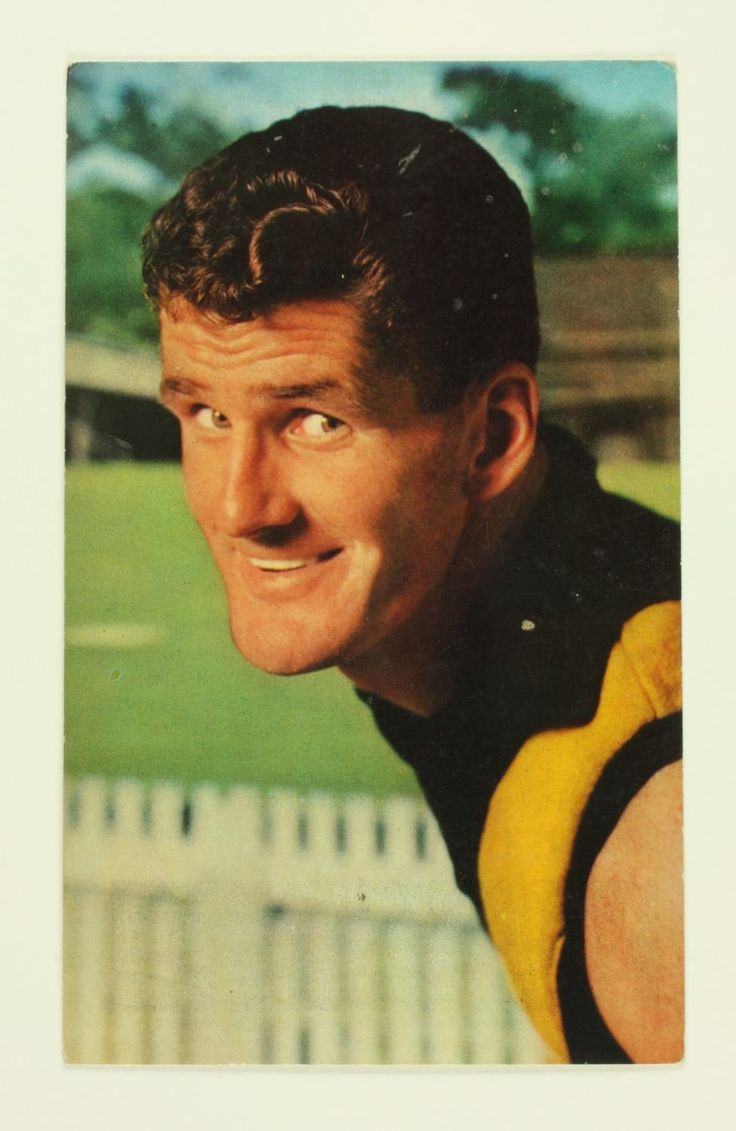 Victorian Football League football card featuring Richmond player Pat Guinane, from the Mobil Football Photos, 1964 season. There were 40 cards in a series and these could be collected and pasted in a Mobil football photos album. Comments on the featured player were published on the back of the cards, written by Lou Richards, football journalist for the Sun News-Pictorial newspaper, Melbourne and  ...